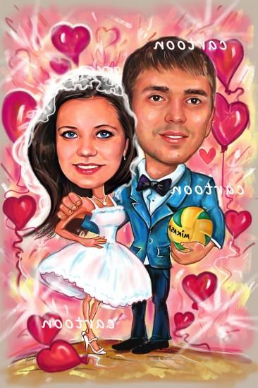 Свадебный шарж с оригинальным сюжетом в Калуге!
