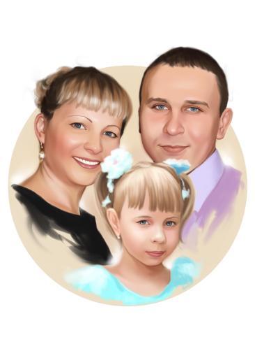 Семейный портрет по фото на холсте в Калуге — правильный подарок!