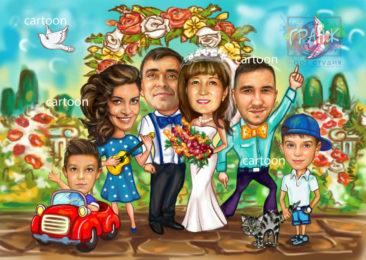 Шарж по фото на годовщину свадьбы на заказ в Калуге…